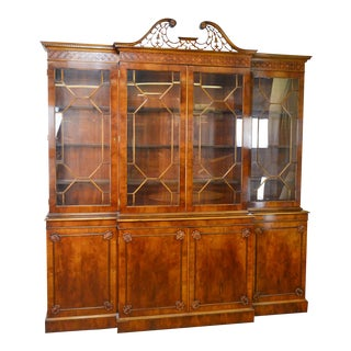 Trosby George III Style English Yew Wood 4 Door Breakfront