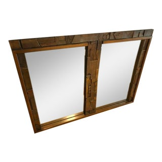 1960's Lane Brutalist Carved Double Wall Mirror For Sale
