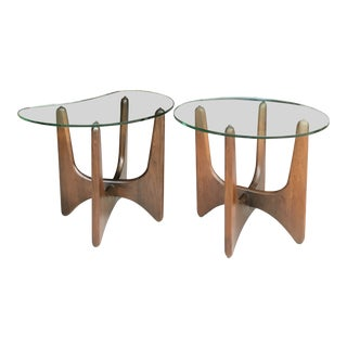 Pair Adrian Pearsall Walnut Side Tables Craft Associates For Sale