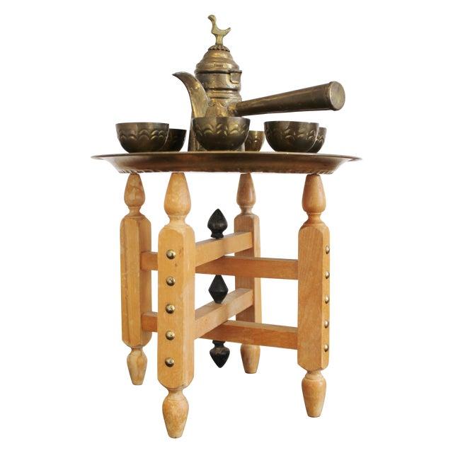 Vintage Brass Turkish Coffee Set - Image 1 of 5