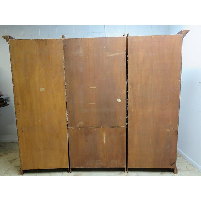 Vintage Italian Monumental 3 Piece Custom Bookcase China Cabinet Hutch For Sale - Image 9 of 10