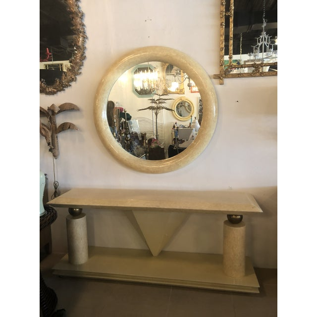 Vintage Bone Brass Console Table and Wall Mirror Set For Sale - Image 13 of 13