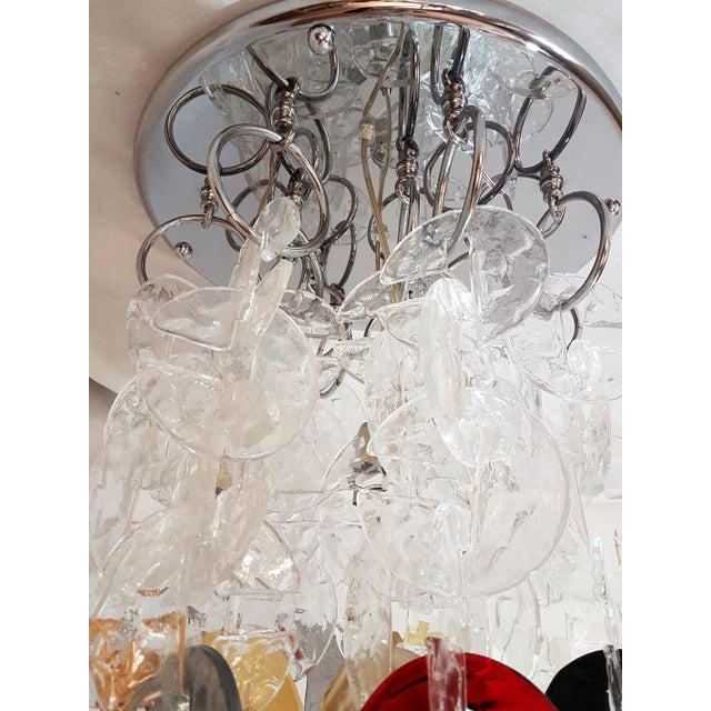 1970s Mid Century Modern Mazzega Chrome & Murano Glass Chandelier For Sale - Image 5 of 12