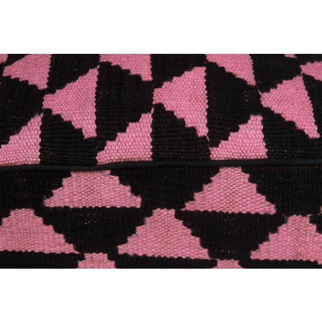 2010s Arshs Diedra Black/Pink Kilim Upholstered Handmade Ottoman For Sale - Image 5 of 8