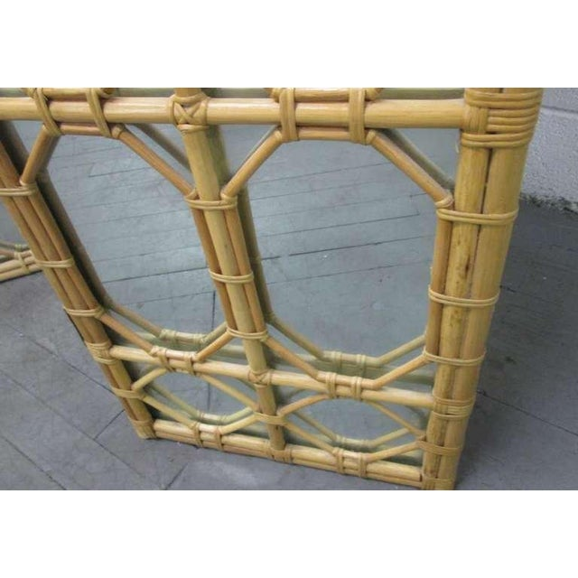 1960s 3 Panel Rattan & Mirror Floor Screen Room Divider For Sale - Image 4 of 8