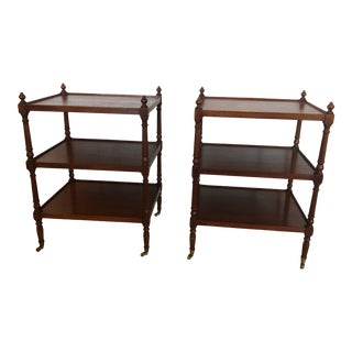 Grand Rapids Vintage 3-Tier Mahogany Side End Tables -A Pair For Sale