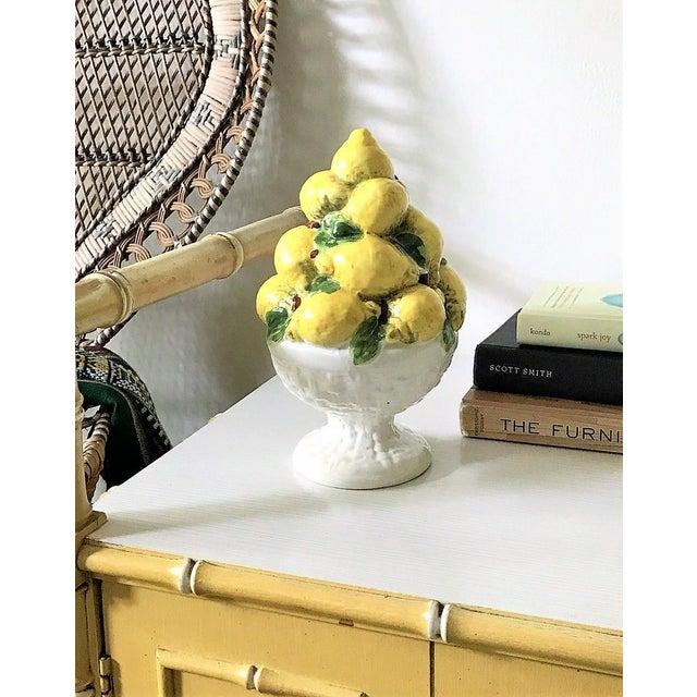 Italian Majolica Lemon Topiary ( 2 Available), Mid-Century For Sale - Image 5 of 11