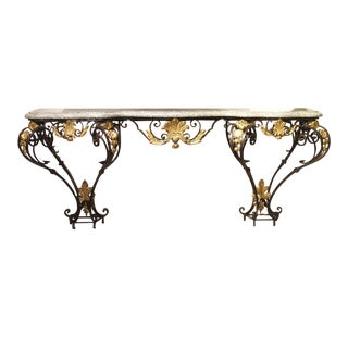 Antique Forged Iron and Gilt Tole Console Table With Marble Top From Provence France, Circa 1850 For Sale