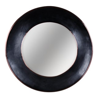 Round Lacquer Mirror with Copper Trim For Sale