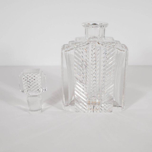 Exquisite Skyscraper Style Crystal Art Deco Hand-Cut & Beveled Crystal Decanter For Sale In New York - Image 6 of 11