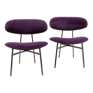 1950's Italian Violet Upholstered Low Chairs - a Pair For Sale