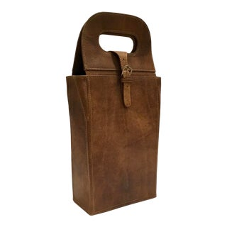 Transitional Leather Two Bottle Wine Bottle Holder For Sale