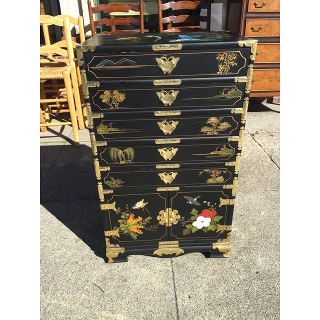 Black Hand Painted Chinese Chinoiserie Jewelry Chest For Sale - Image 8 of 8
