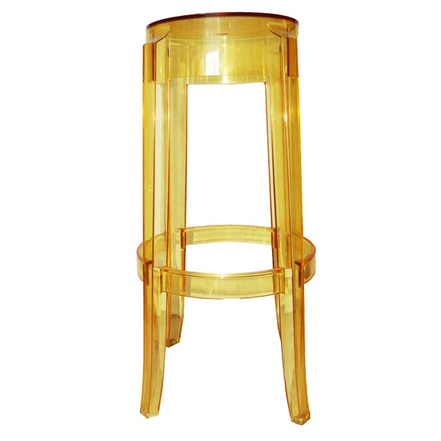 """Vintage Original signed Set of 4 yellow Stools designed by Philippe Starck. """" CHARLES GHOST by Kartell with Stark"""""""
