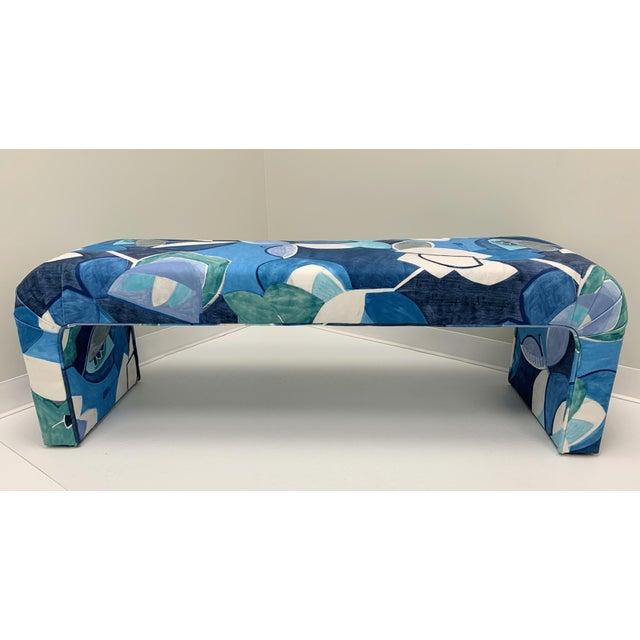 Wood Vintage Springer Style Waterfall Bench in Art Print Donghia Velvet For Sale - Image 7 of 7