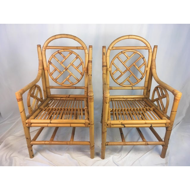 Vintage Chippendale Rattan Chairs - a Pair For Sale - Image 9 of 9