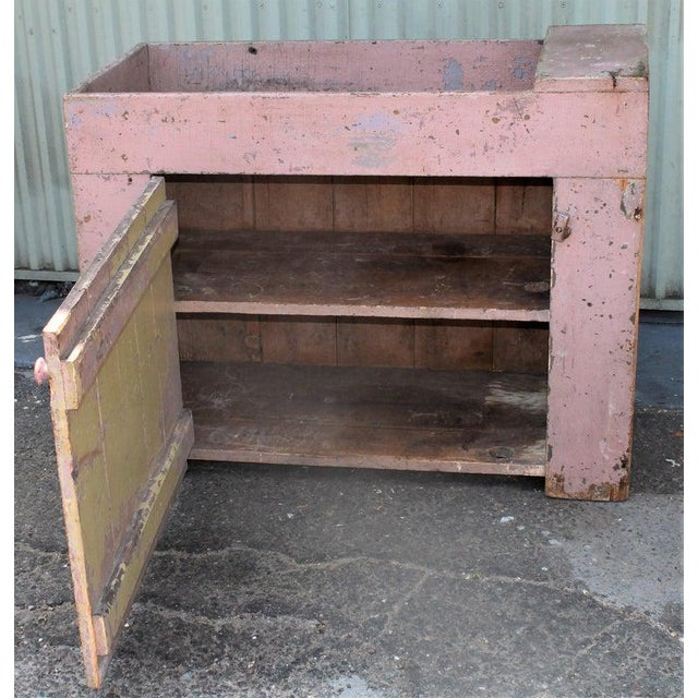 19th Century Dry Sink in Original Dusty Rose Paint For Sale - Image 4 of 12