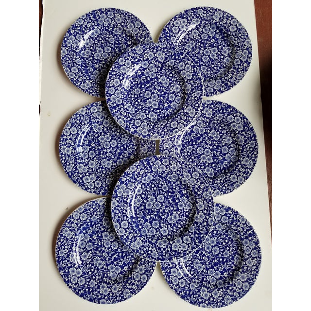 Staffordshire 1980s English Traditional Blue and White Calico Chintz China Dessert or Salad Plates - Set of 8 For Sale - Image 4 of 4