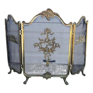 Antique Brass/Metal French Regency Fire Screen For Sale