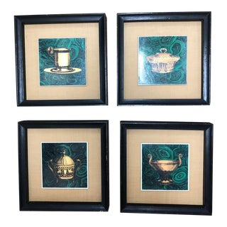 Vintage Fornasetti Italian Framed Malachite Tiles - Set of 4 For Sale