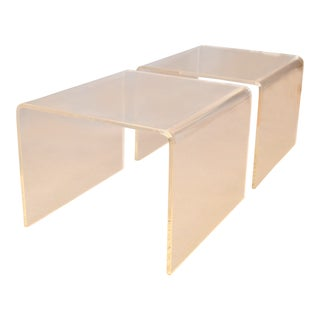 Clear Mid-Century Modern Lucite End Tables, Sofa Tables, Side Tables - Pair For Sale