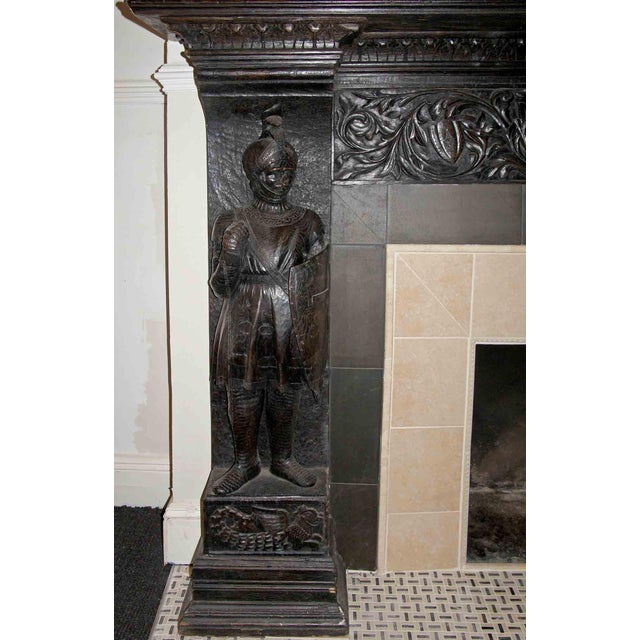 Late 19th Century German Renaissance Style Carved Chestnut Mantel For Sale In New York - Image 6 of 11