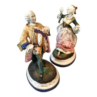 18th C French Old Paris Bisque Figurines - a Pair For Sale