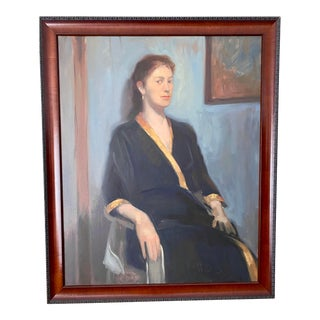 Woman in Black Robe Portrait Oil Painting on Canvas, Framed For Sale