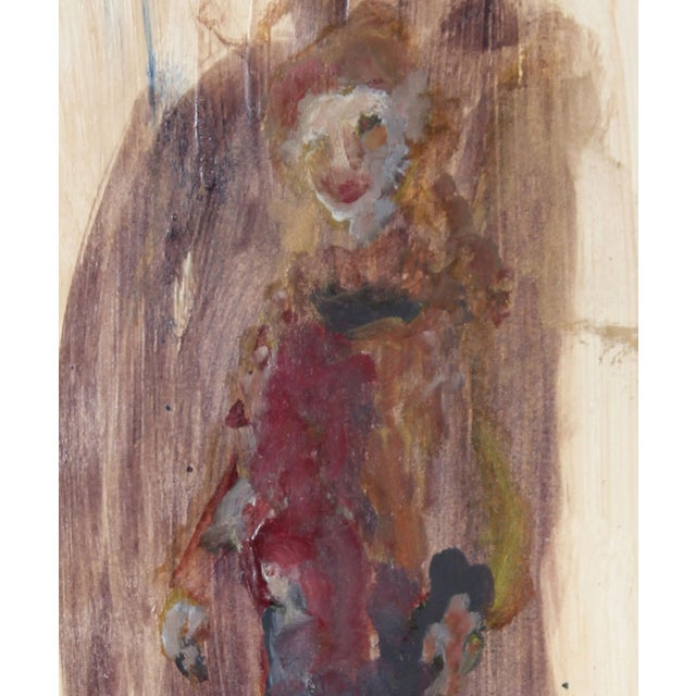 This circa 1960's distemper painting portrait of San Francisco poet Madeline Gleason is by Bay Area artist Alysanne...
