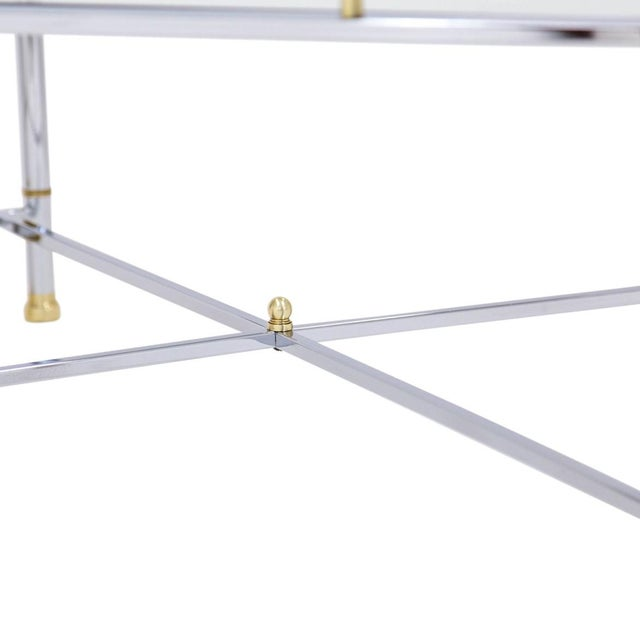 Mid 20th Century Chrome Brass & Glass Coffee Table For Sale - Image 5 of 10