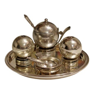 "Art Deco Georg Jensen Sterling ""Pyramid"" Condiment Set #632b - Set of 6 For Sale"
