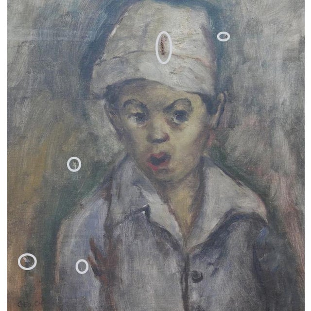 """1940s George Chann """"Portrait of a Boy"""" Painting For Sale - Image 5 of 6"""