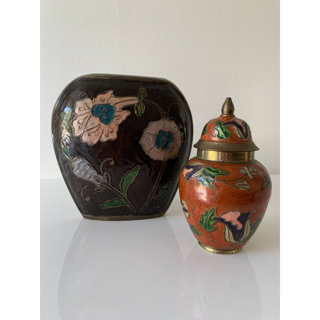 Vintage Enameled Brass Vase & Jar - Pair For Sale - Image 9 of 9