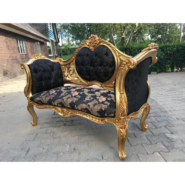 Cotton French Louis XVI Style Settee For Sale - Image 7 of 12