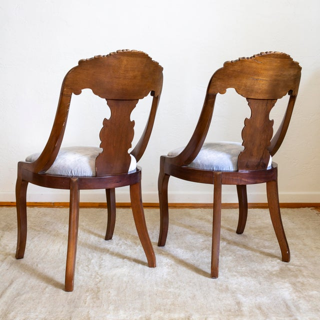 French Empire Gondola Chairs | 19th Century Francois Seignouret | a Pair For Sale - Image 4 of 13