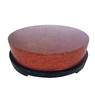 Two-Tone Cubist Style Round Coffee Table For Sale