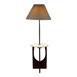 Mid Century Modern Walnut Brass Marble Floor Lamp Table Pearsall Style 1960s For Sale