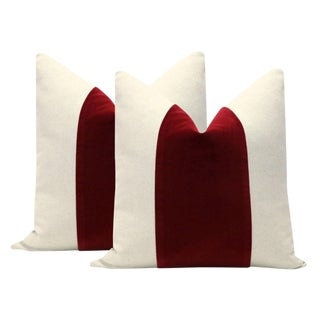 "22"" Crimson Velvet Panel & Linen Pillows - a Pair"