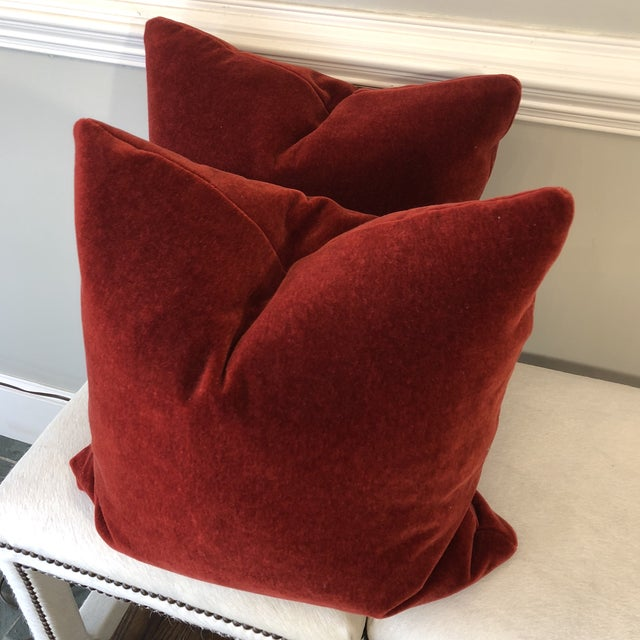 "2010s Brick Red Mohair 22"" Pillows-A Pair For Sale - Image 5 of 7"