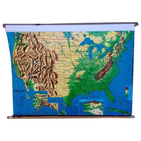 1960s Weber Costello Hanging United States Map - Image 1 of 6
