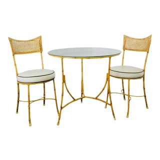 Vintage Hollywood Regency Faux Bamboo Iron Patio Table and Chairs, Set of 3 Pieces For Sale