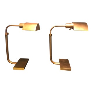 Robert Abbey Brass Task Lamps - a Pair For Sale