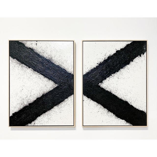 "Exclusive John O'Hara ""Tar, X"" Encaustic Paintings (2-Panel) For Sale - Image 9 of 10"