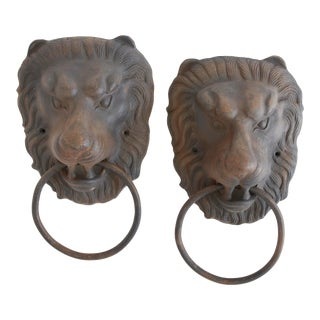 English Traditional Metal Lion Head Pulls. - a Pair For Sale