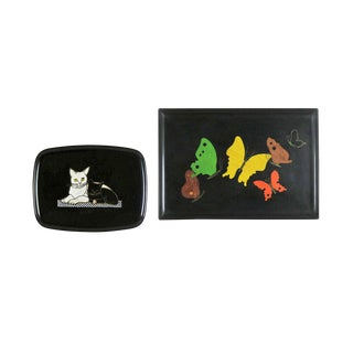 Pair of Vintage Mid-Century Modern Couroc of Monterey Black Trays Cats & Butterflies For Sale