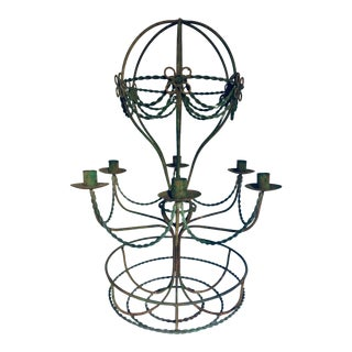 Vintage Mid Century Wrought Iron Hot Air Balloon Chandelier & Flower Basket For Sale