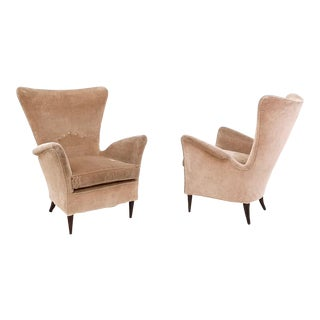 Pair of Beige Velvet Armchairs Ascribable to Gio Ponti for Hotel Bistrol, 1950s For Sale