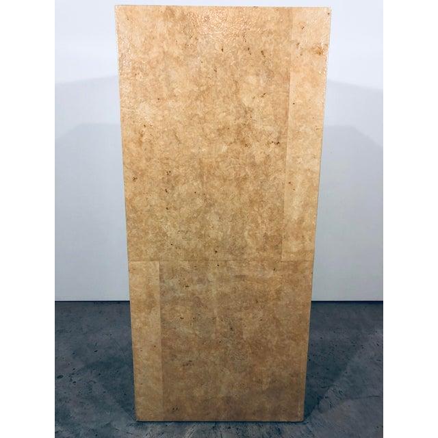 Tan Karl Springer Style Decorative Parchment Display Pedestal For Sale - Image 8 of 13