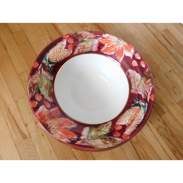Floral Punch Bowl & Platter Made in Italy - a Pair For Sale - Image 9 of 12