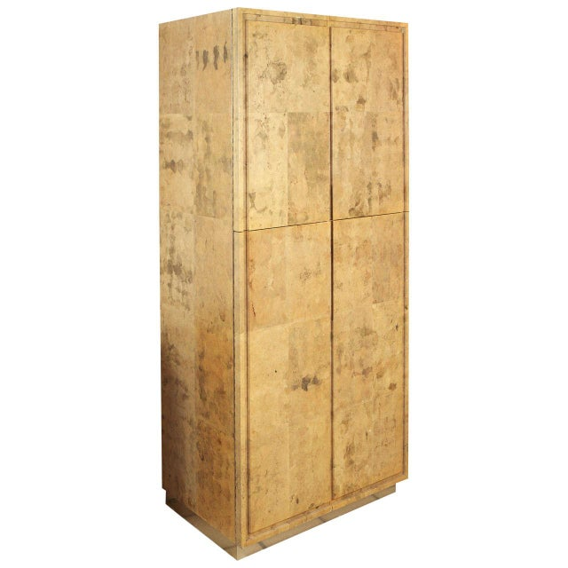 1980s Glazed Parchment Finish Armoire For Sale - Image 9 of 9
